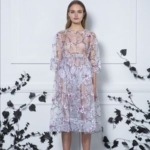 Asilio Purple floral orchid sheer mesh dress